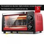 Four mini 12L avec réglage de la température 0-230℃ et 0-60 min minuterie, grille-pain porte 1050W double vitrage rouge