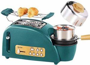 3 en 1 Petit-déjeuner Center Station, One Touch Control, 2 tranches Grille-pain – avec amovible Egg Cooker, poêlé lxhff plat et amovible Tiroir ramasse-miettes KaiKai