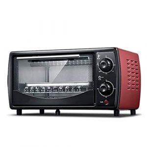 goldensnakes INOX Mini Four,Mini Four Compact,Mini Four De Cuisson Ménager, Temps De Rotation De 30 Minutes, Capacité De 12 litres, Châssis du Châssis Coulissant,minuterie • INOX,Red