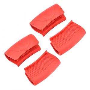 Hemoton 4 Pcs Silicone Chaud Poignée Titulaire Résistant À La Chaleur Pot Poignée Poignée Pour Poêles À Frire Ustensiles De Cuisine Poignées Plaques Rouge
