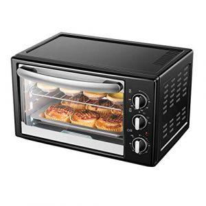 Mini four électrique 35L avec contrôle précis de la température 90-230°C et 0-60 min. Minuterie multifonction double couche 1500W noire