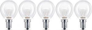 Philips Ampoule E14 40 W Four forme de goutte Diamètre 45 mm, résistantes à max. 300 °C. Lot de 5 blanc chaud