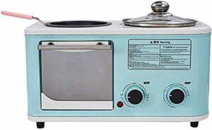 3-en-1 multifonction Petit déjeuner Machine de station Four électrique Grille-pain en acier inoxydable Egg Plaque de cuisson antiadhésifs Pot facile à utiliser lxhff KaiKai