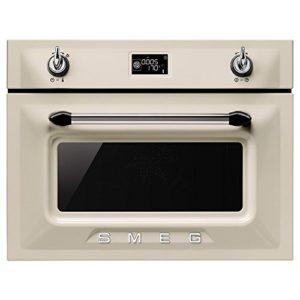 Micro ondes Combiné Encastrable Smeg SF4920MCP – Micro-Ondes combiné Intégrable Créme – 40 litres – 1000 W