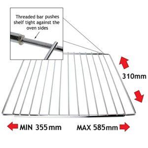 spares2go Étagère réglable Bras de fixation grille en acier inoxydable pour DeLonghi Four & Grill Avec Écrou de verrouillage Design (310mm x 355-585)