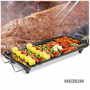 Bonheur Grille électronique pour barbecue maison sans fumée, antiadhésive, rectangle, gâteaux, moules pour divertissement et santé Table à manger Médium