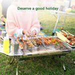 Bonheur Grille pour Barbecue en Acier Inoxydable Pliable Portable Extérieur en Carbone Grille pour Cuisiner Camping Pique-nique Extérieur du Jardin du Charbon de Bois BBQ Party argent