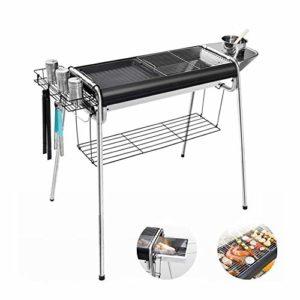 Bonheur Grille pour barbecue, portable, barbecue au charbon de bois, outils légers pliables pour le camping, la randonnée, le pique-nique noir
