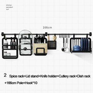 HLD Cuisine Rack Mural Suspendu Rod Pendentif Couteau Rack Assaisonnement Rack Chopsticks Rack Mur Noir Libre Punch Support de Rangement Grilles de Four (Color : 2)