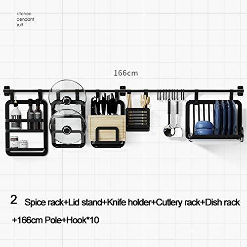 LSZ Cuisine Rack Mural Suspendu Rod Pendentif Couteau Rack Assaisonnement Rack Chopsticks Rack Mur Noir Libre Punch Support de Rangement Grilles de Four (Color : 2)