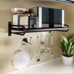 Kedorle Cuisine Rack Télescopique en Acier Inoxydable, Micro-Ondes Rack, Grille du Four, Stockage, Plancher Au Sol,53CM X38CM X18CM