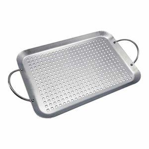 Knowled Panier de barbecue en acier inoxydable avec grands trous pour grille Plaque de cuisson universelle pour barbecue 454 x 257 x 45 mm