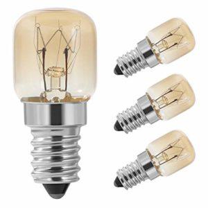Vicloon Ampoule Four,4Pack E14 Four 15W,Four Ampoule,SES Capuchon Clair Pac Pygmée Four Lampe,E14 Résistant jusqu'à 300° C Lumiere pour Au Four/Four à micro-ondes,80lm,Angle de Faisceau 360°,230V