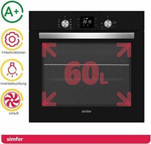 Simfer SMF-BO 6813 Four encastrable Noir 60 l | 9 fonctions | Minuterie numérique | Boutons rotatifs Pop-Up | Rail télescopique | Double vitrage | Grille latérale | Air chaud | Recirculation