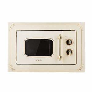 Klarstein Victoria 20 • micro-ondes encastrable • design rétro • 20L • micro-ondes 800W / puissance de gril 1000W • 3 fonctions grill/micro-ondes • acier inoxydable • cadre de montage • ivoire