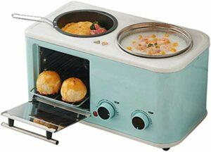 Machine à pain électrique 3 en 1 Ménage Petit déjeuner Mini multifonctions inoxydable Pan Hot Pot de cuisson du pain en acier Chaudière Omelette Grille-pain nourriture Fry four à vapeur, Bleu, Bleu 8b
