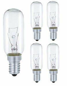AcornSolution Lot de 5 ampoules de hotte 40 W, culot E14, T25, 240 V AC, convient également pour les fours [Classe énergétique E]