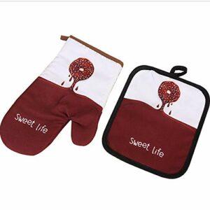 Gants d'isolation thermique en coton et en lin, four à micro-ondes antidérapant épais Gants de ménage anti-brûlure à haute température.