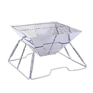 YNLRY Grille de barbecue portable en acier inoxydable avec surface antiadhésive, pliable, table de camping, jardin, terrasse, pique-nique