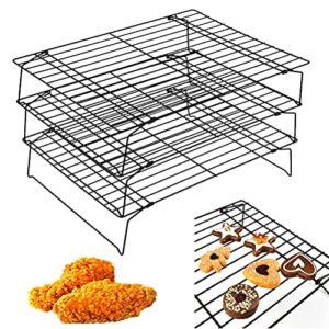 Bestonzon 3étages Bcake Grille de refroidissement anti-adhésif Plateau de refroidissement pour la cuisson de fumer griller barbecue
