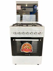 Cuisine 60 x 60 LAREL 4 feux ACC. ELET Four électrique ventilé blanc grilles fonte
