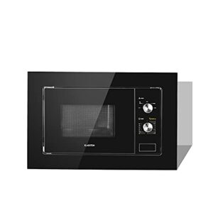 KLARSTEIN Luminance – Micro-ondes encastrable, 20 L, 800 W, fonction décongélation, cuisson, 5 niveaux de puissance, plateau en verre Ø 24,5 cm, 39 x 59,5 cm (H x l), façade réfléchissante – noir