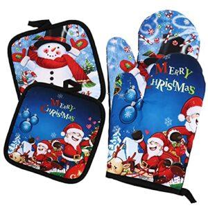 UPKOCH 1 Ensemble De Noël Four Mitaines de Four Résistant À La Chaleur Tapis Santa Claus Bonhomme De Neige Motif Cuisine Coton Doublure pour Barbecue Griller Cuisine Cuisson