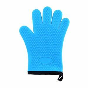 Gants de four 1pcs anti-extraction de gants de silicone micro-ondes gant de sécurité cuisson cuisson cuisson barbecue porte-pots résistant à la chaleur gants de cuisine (Farbe : Blue)