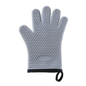 Gants de four Une pièce haute résistance à la température Gants de gants de cuisson de cuisson à four micro-ondes isolant silicone gants à cinq doigts (Color : Grey)