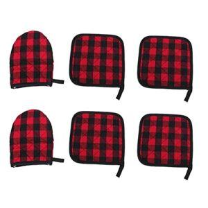 SOIMISS Four Mitaines Rouge Noir Plaid Résistant À La Chaleur Four Non- Slip Résistant À La Chaleur Napperon Table Tapis Rouge Plaid pour La Maison de Cuisson Griller